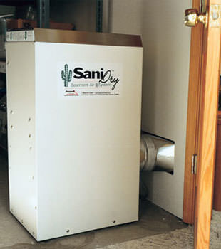 A Energy Efficient basement dehumidifier installed in a finished basement in Eldora
